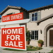 Bank Owned Home For Sale Sign and House - Stock Photo