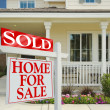 Sold Home For Sale Sign and New House — Stock Photo #2368822