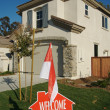 Welcome, Please Come In Sign and House — Stock Photo #2368839