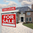 Foreclosure Home For Sale Sign and House — Stock Photo #2369217