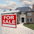 Royalty-Free Stock Photo: Home For Sale Sign in Front of New House