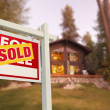 Sold Home For Sale Sign and Log Cabin — Foto Stock