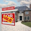 Sold Foreclosure Sign and Home — Stock Photo