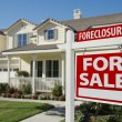 Foreclosure Home For Sale Sign and House — Stockfoto