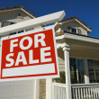 Stock Photo: Home For Sale Sign in Front of New House
