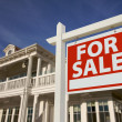 Home For Sale Sign in Front of New House — Stockfoto