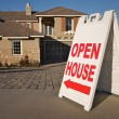 Open House Sign in front of New Home. — Stock Photo