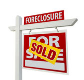 Sold Foreclosure For Sale Sign on White — Stock Photo