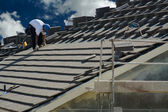Roofer Laying Tile — Stock Photo