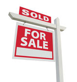 Sold For Sale Real Estate Sign on White — Stock Photo