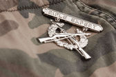 Rifle Expert War Medal on Camouflage — Stock Photo