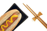 Hot Dog and Chopsticks — Stock Photo