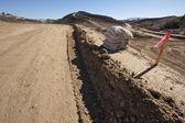 Sandbags & Marker Sticks at Construction Site — Stock Photo