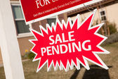 Red Sale Pending Real Estate Burst Sign. — Stock Photo