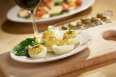 Deviled Eggs and Appetizers — Stock Photo