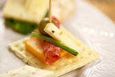 Cracker Appetizers on Elegant Plate — Stock Photo