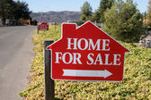 Home For Sale Signs Along Side Street — Stock Photo