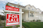 Foreclosure Real Estate Sign and House — Stock Photo