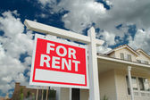 For Rent Sign in Front of New Home — Stock Photo