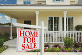 Home For Sale Sign in Front of New Home — Stock Photo