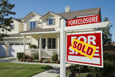 Sold Foreclosure Real Estate Sign — Stock Photo