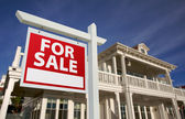 Home For Sale Sign in Front of New House — Stock Photo