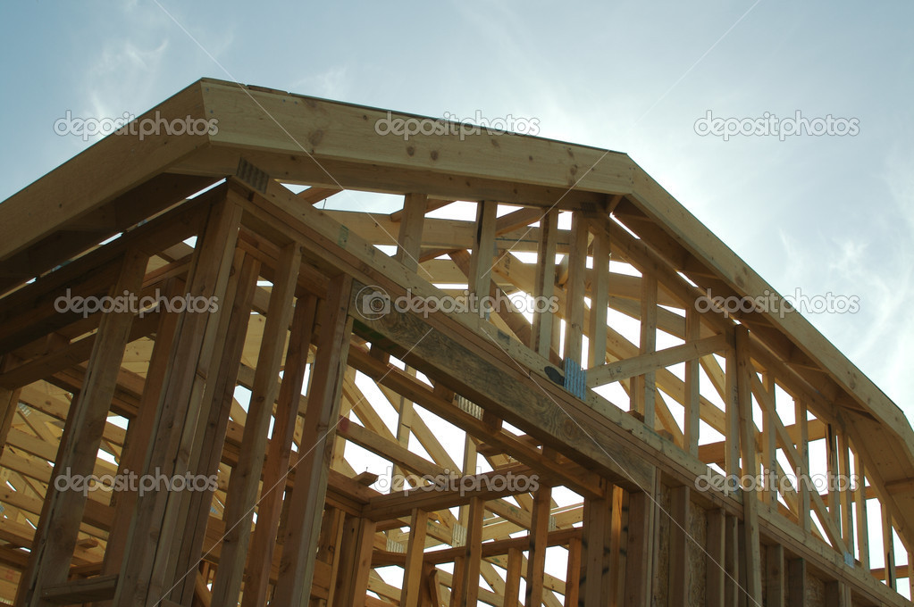 New residential construction home framing site. — Stock Photo #2360985