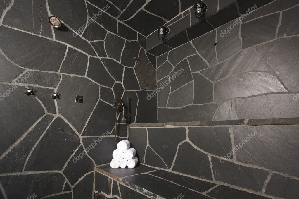 Custom Slate River Rock Steam Room — Stock Photo #2361105