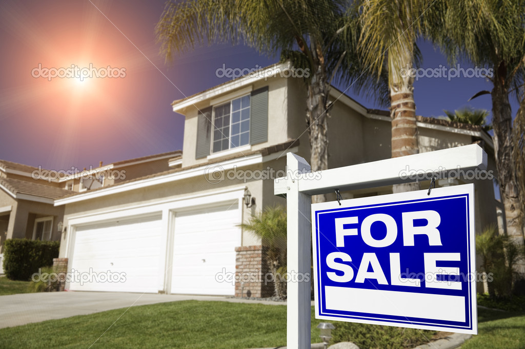 Blue For Sale Real Estate Sign in Front of House.  Stock Photo #2367750