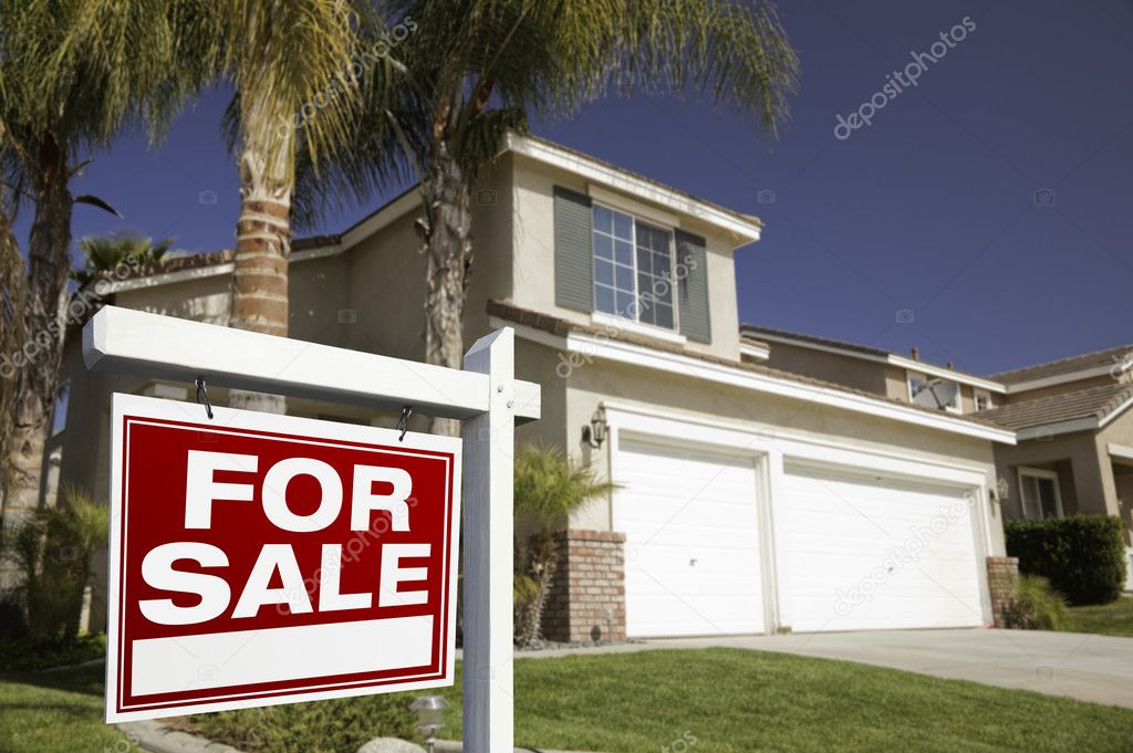 Red For Sale Real Estate Sign in Front of House.  Stock Photo #2367892