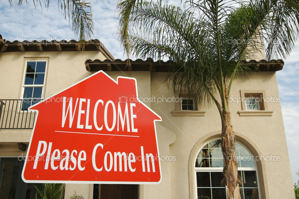 Welcome please come in sign and house stock photo 169 feverpitch
