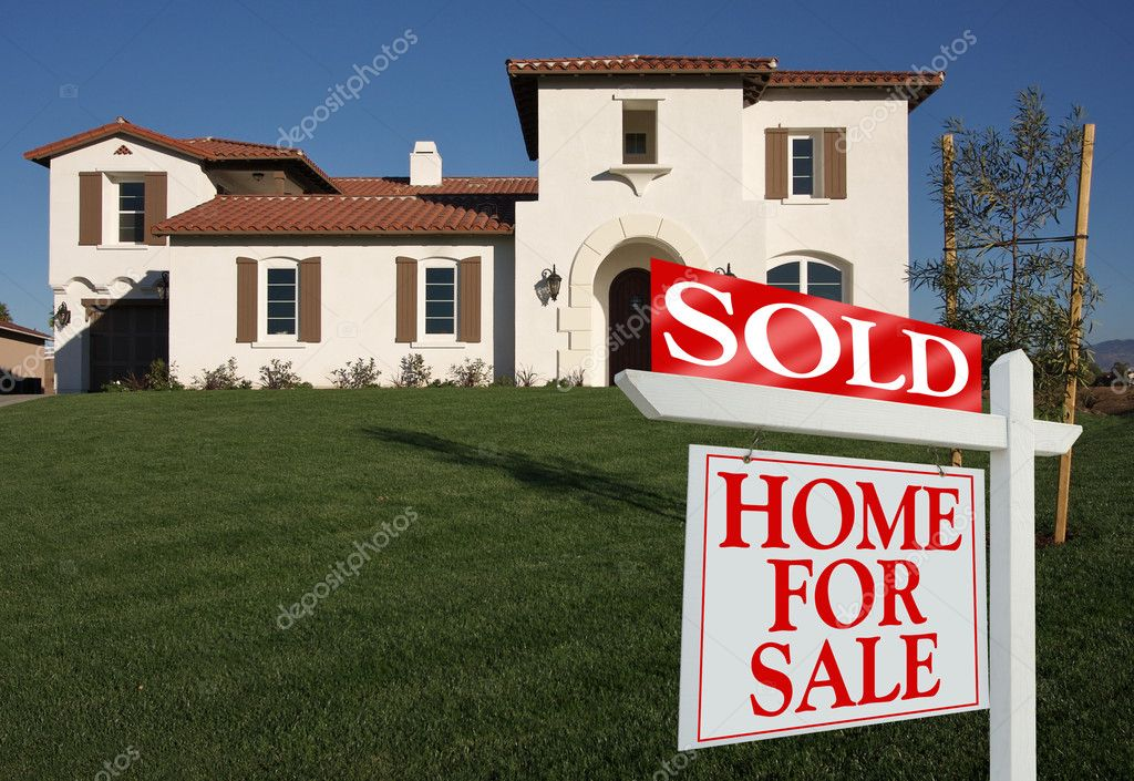 Sold Home For Sale Sign in Front of New House  Stock Photo #2369308