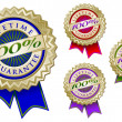 Stock Vector: Colorful 100% Lifetime Guarantee Seals