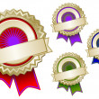 Set of Colorful Emblem Seals With Ribbon — Stock Vector