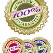 Colorful 100% Money Back Guarantee Seals — Imagens vectoriais em stock
