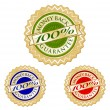 Set of 100% Money Back Guarantee Emblems - Stock Vector
