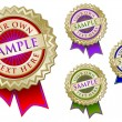 Four Colorful Emblem Seals With Ribbon - Stock Vector