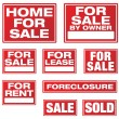 Various Real Estate and Business Signs - Stock Vector