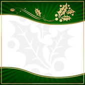 Exotic Green Holly Adorned Gift Tag — Stock Vector