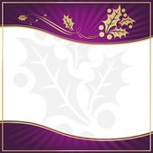 Exotic Purple Holly Adorned Gift Tag — Stock Vector