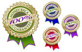 Set of Four 100% Guarantee Emblems — Stock Vector