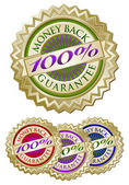 Colorful 100% Money Back Guarantee Seals — Stock Vector