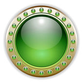 Ornate Green Glossy Vector Button — Stock Vector
