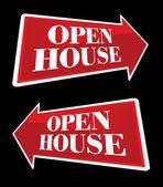 Open House Real Estate Arrow Signs — Stock Vector