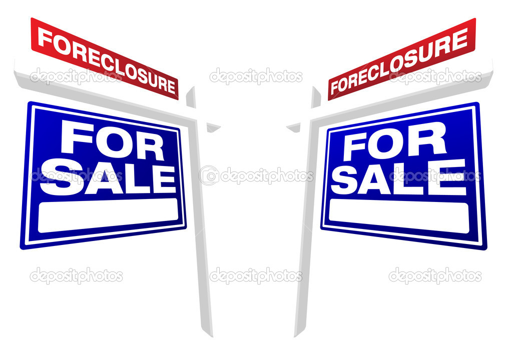 Pair of Blue Foreclosure For Sale Real Estate Signs In Perspective. — Stock Vector #2369346