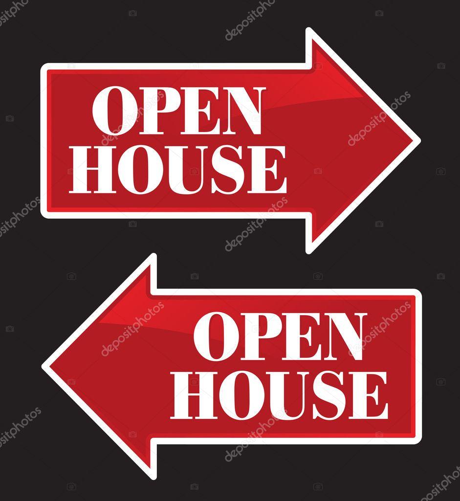 Open house real estate arrow signs stock vector for Open house photos