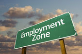 Employment Zone Green Road Sign In Front — Stock Photo