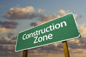 Construction Zone Green Road Sign In Fro — Stock Photo