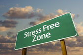 Stress Free Zone Green Road Sign — Stock Photo
