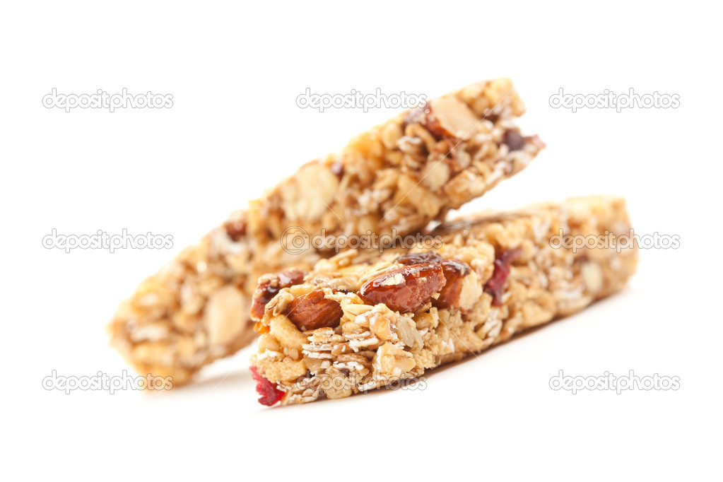 Two Nutritious Granola Bars Isolated on White with narrow Depth of Field.   Stock Photo #2545308